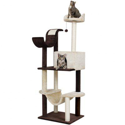 Finether 60.5 Inch High 5-Tier Cat Tree Tower Furniture Kitten Playhouse with Scratching Posts
