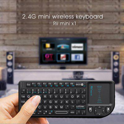 Rii Mini X1 Wireless-Tastatur 2.4G Flying Mouse Handheld-Touchpad-RU-Schwarz