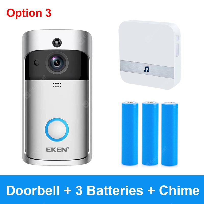 EKEN V5 Silver Video Doorbell Smart Wireless WiFi Security Door Bell - China Option 3