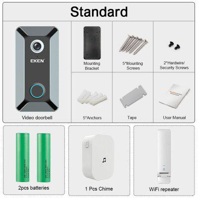 EKEN V6 wifi Doorbell Smart Wireless 720P video camera Cloud storage door bell cam Gray