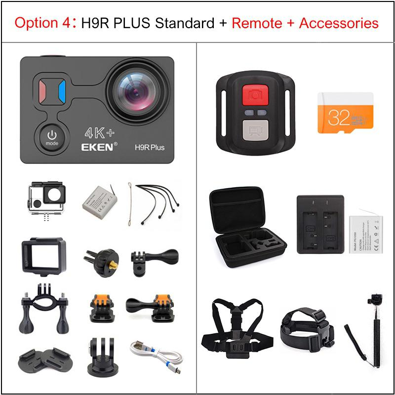 EKEN H9R Plus Action Camera Ultra HD 4K A12 waterproof wifi sport Cam - Option 4 China