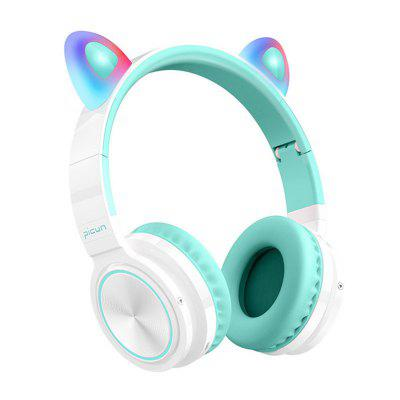 Tourya Cute Cat Bluetooth 5.0 Headset Wireless Hifi Music Stereo Bass Headphones LED Light Mobile Phones Girl Daughter for PC