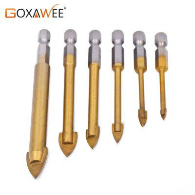6 Pieces Tungsten Carbide TCT Glass Tile Drill Bits Set Titanium Coated Power Tools Accessories