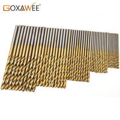 50Pcs Titanium Coated Twist Drill Bit Aluminum HSS Drill Bit Set High Steel for Woodworking Plastic