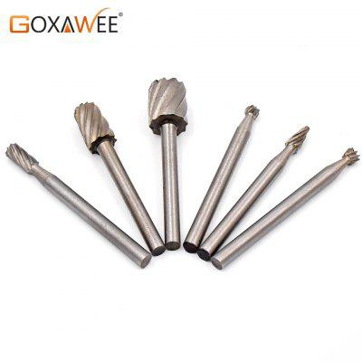 6pcs HSS Wood Milling Burrs Cutter Set Dremel Rotary Tools accessories Special seat Rotary Burrs Set