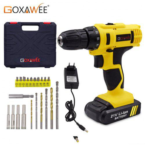 21V Cordless Electric Drill Driver Dual-speed Variable 22+1 Torque Fast Charger