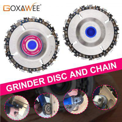 GOXAWEE 4Inch Grinder Chain Disc 22 Tooth Cut Chain Set Wood Carving Discs For 100-115 Angle Grinder