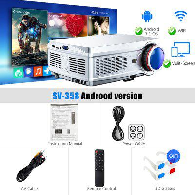 SV358 Full HD Projector 1080P LED proyector 3D Video Beamer HDMI for 4K Smart Android 7.1 Wireless Wifi