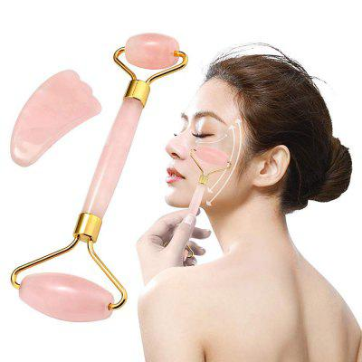 Jade Roller Gua Sha Scraping Facial Tools Set Rose Quartz Crystal Face Massager Anti Aging