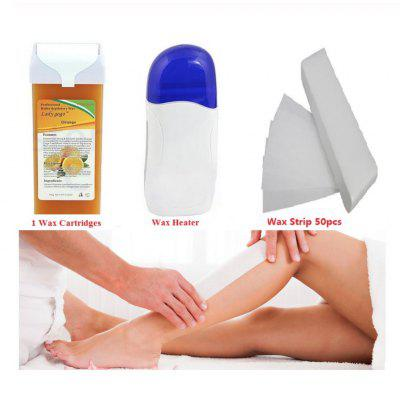 Hot Wax Heater Set 100g Epilator Roll On Depilatory Hair Removal plus 50pcs Waxing Strip
