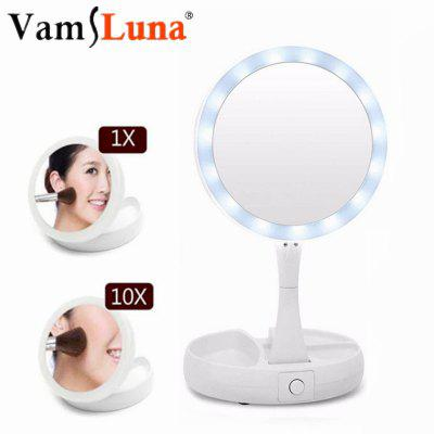 Makeup Mirror Portable LED Lighted Foldable Make Up Pocket Magnifying Mirrors Table Lamp