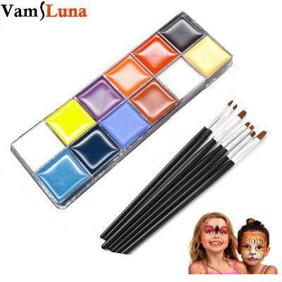12 Color Face Body Paint With 5 Brushes Set - Non-Toxic Face and Body Crayons Painting Art