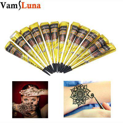 12X Black Henna Paste For Body Painting - Indian Temporary Fake Tattoo Natural Herbal