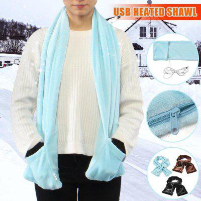 USB Powered Fleece Portable Soft Heated Shawl Winter Electric Neck Wrap with Warm Pocket