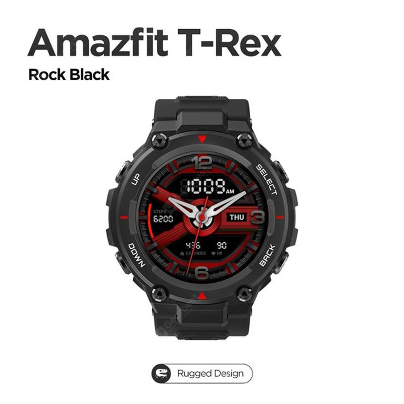 New CES Amazfit T Rex T-rex Smartwatch Control Music 5ATM Smart Watch GPS/GLONASS 20 Days Battery Life MIL-STD For Android Ios Phone