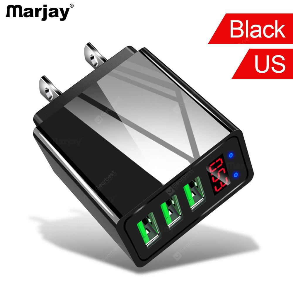 Gearbest Marjay 3.1A5V UK EU US USB Travel Fast Charger Plug 3Ports LCD Intelligent Digital Display Universal