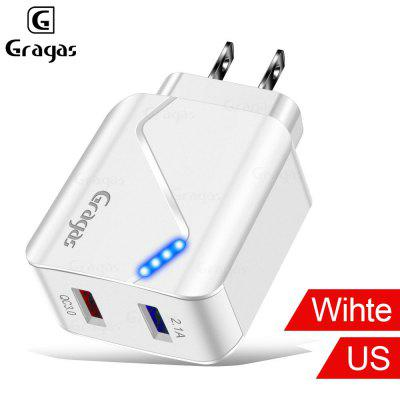 Gragas 2.1A Quick Charge 3.0 US EU Adapter For Samsung Huawei Travel Charger LED Indicator Charger
