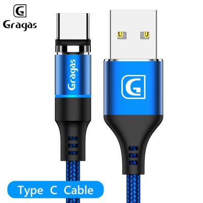 Gragas 360 Degree Round Magnetic Cable LED Light Charging Cable For iphone Android Type-C Data Cable