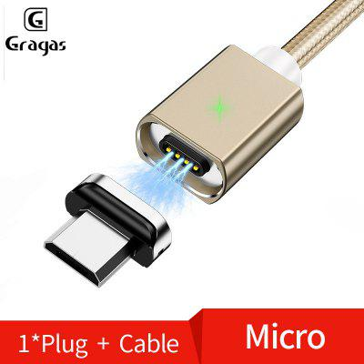 Gragas Nylon Magnetic Data Cable 3.0A Card Slot-Magnetic Fast Charge Cable LED Indicator For Iphone