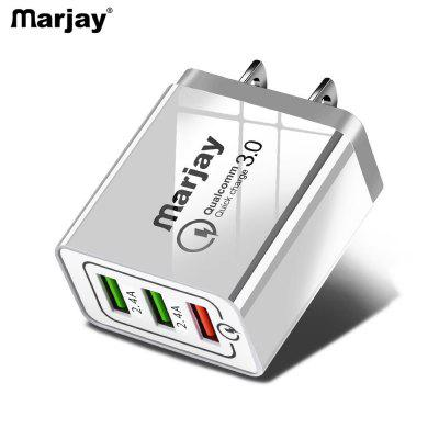 Marjay 3 Ports Quick Charger 3.0  Fast USB Charger LED Light Phone 5V 2.4A EU US Plug Wall Charge
