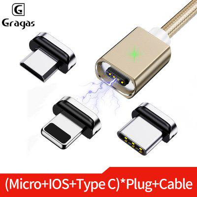 Gragas 3A Nylon Magnetic Card slot Charging cable Three in One LED Indicator For iphone Android