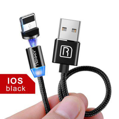Rexxar Magnetic Nylon LED Indicator Fast Charging Cable Micro USB Type C Rotatable For iphone LG