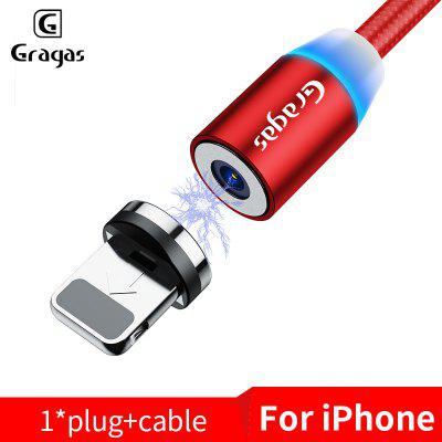 Gragas 2.4A Nylon Magnetic LED Indicator 360 Rotation Fast Charging Cable Micro USB TypeC IOS