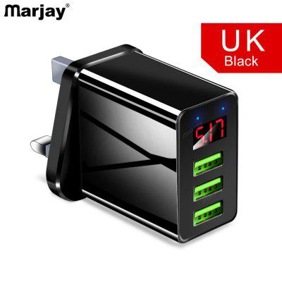 Marjay 3.1A5V UK EU US USB Travel Plug 3Ports LCD Intelligent Digital Displayl For xiaomi note 10