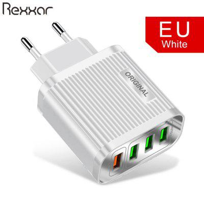 Rexxar 4 USB Fireproof PC-ABS 3.1A Quick Charging 3.0 US-Eu-Plug Wall For iPhone Xiaomi Samsung