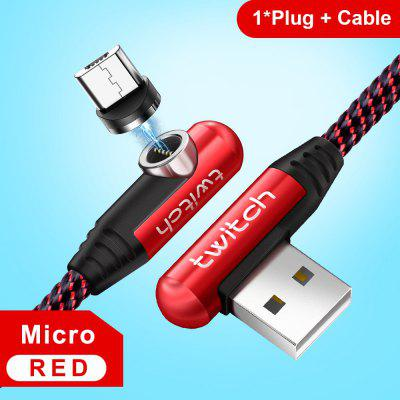 Twitch 90 Degree Elbow Nylon Magnetic cable 3A Quick Charge cord for iPhone Samsung USB Charger