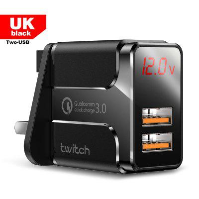 Twitch Lake Dual 18W QC Digital Display Quick Charger for iPhone Xiaomi Samsung Huawei Wall Travel