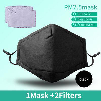Cotton Black Mouth Face Mask With 2 Activated Carbon Filter Windproof Mouth-muffle For Men Women Black Fashion Nonmedical