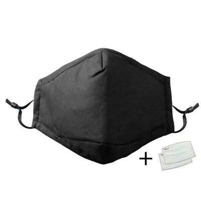 Cotton Black Mouth Face Mask With 2 Activated Carbon Filter Windproof Mouth-muffle For Men Women Fashion Nonmedical