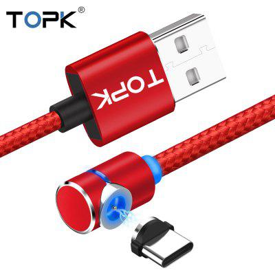 TOPK AM30 1m 2m 90 Degree L Type  Magnetic Cable Nylon Braided LED Indicator  Type C Micro USB Cable