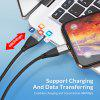 TOPK AM61 3A Magnetic USB  Nylon Weave Micro USB QC3.0 USB Type C Cable for iPhone Samsung Huawei