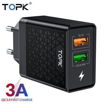 TOPK B254Q Quick Charge 3.0 USB Charger for iPhone Xiaomi Huawei EU Adapter Travel Wall Charger