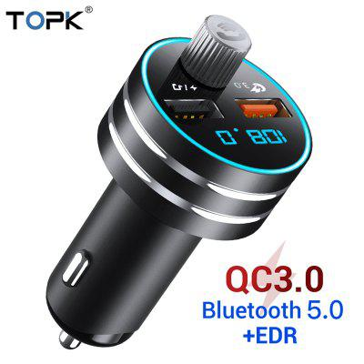 TOPK Car Quick Charger  3.0 Dual USB  Charger with Bluetooth 5.0 FM Transmitter HandFree MP3 TF Card