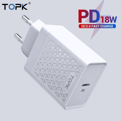 TOPK USB Charger 18W PD Quick Charge 3.0 USB C Mobile Phone Charger For iPhone Xiaomi Fast Charging