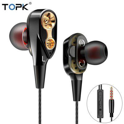TOPK Wired Earphone For Phone Dual Driver HiFi Stereo In-Ear Headset 3.5mm Sport Running Earphones
