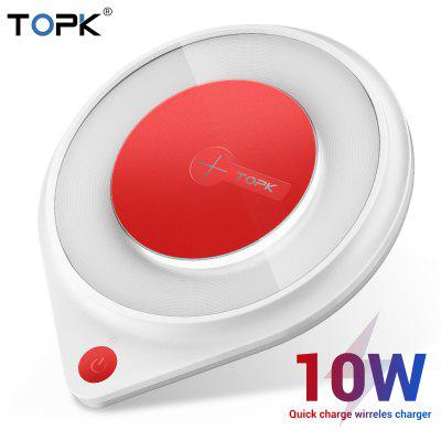 TOPK B03W 10W Wireless Charger for iPhone X Xs Fast Wireless Charging Pad for Samsung Note 9 Xiaomi