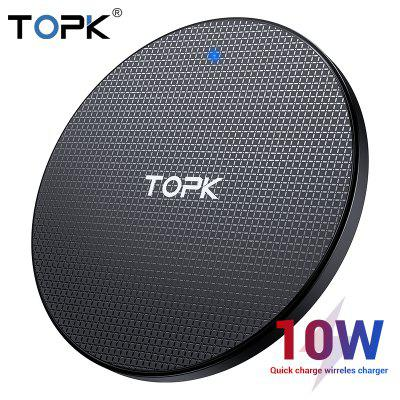 TOPK Wireless Charger for iPhone Xs Max X 10W Fast Charging Pad for Samsung Note 9 Note 8 S10 Plus