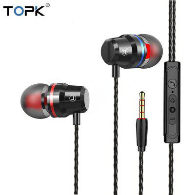 TOPK F16 Stereo Bass Earphone Jack In-ear Sport Wired Earphones with mic Computer Headset