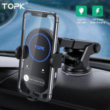 TOPK 15W Wireless Car Charger  Induction Charger Fast Wireless Charger  S20 with Car Phone Holder