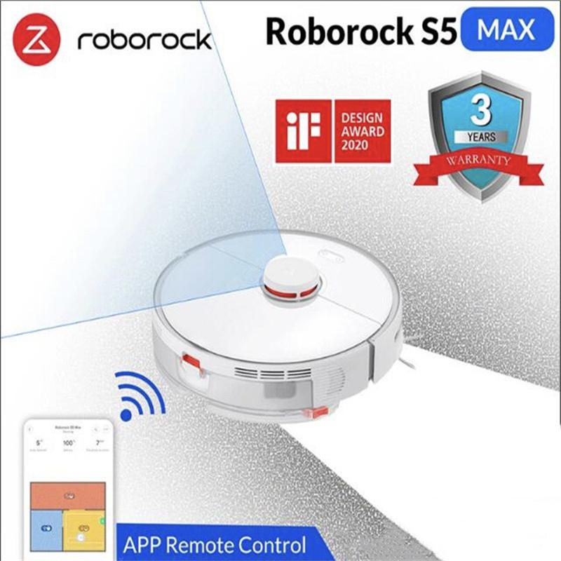 Roborock S5 Max Xiaomi Robot Vacuum Cleaner for Home Smart Sweeping Robotic Cleaning Mope  White
