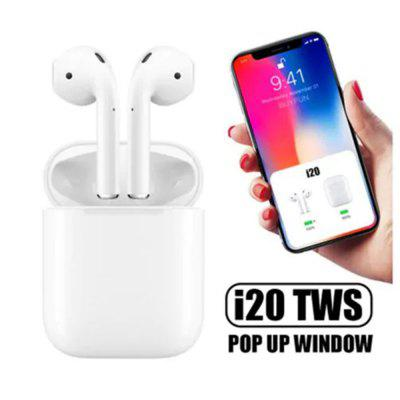 i20 TWS Bluetooth Touch Control Pop-up Headphone for iOS and Android - White