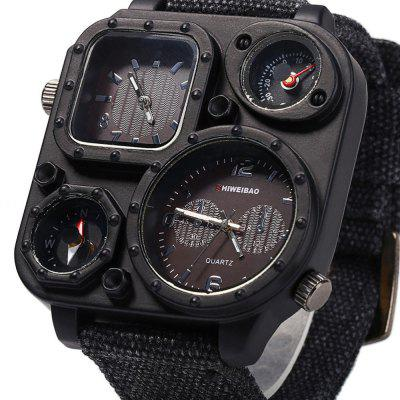 J1169 Watch Mens Large Dial Sport Quartz Watch Dual Movement Canvas Watch with Military Compass Gift