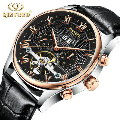 Mechanical Watch Skull Tourbillon Automatic Classic Rose Gold Mechanical Leather Watch Reloj Hombre