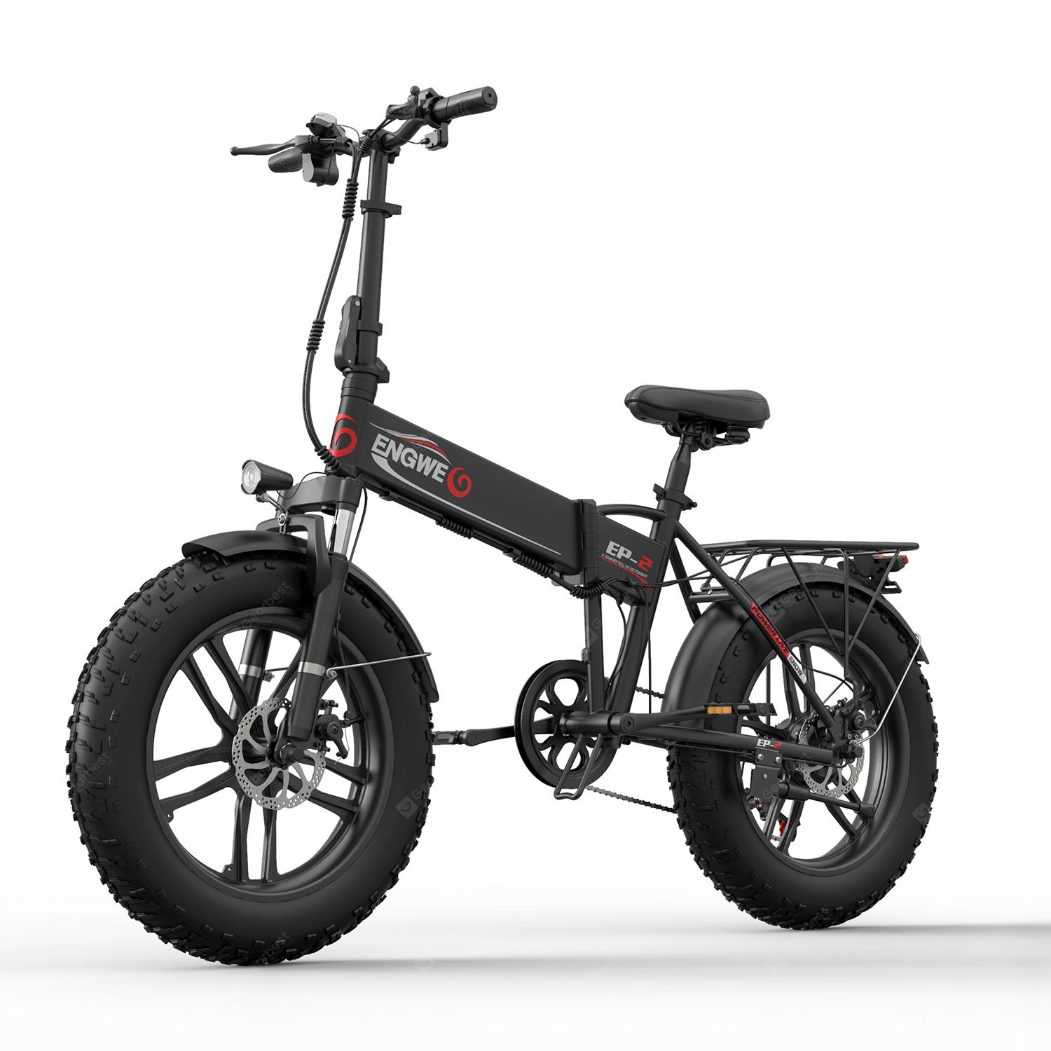 ENGWE EP-2 500W Folding Fat Tire Electric Bike with 48V 10Ah Lithium-ion Battery - Black China 7%commissions
