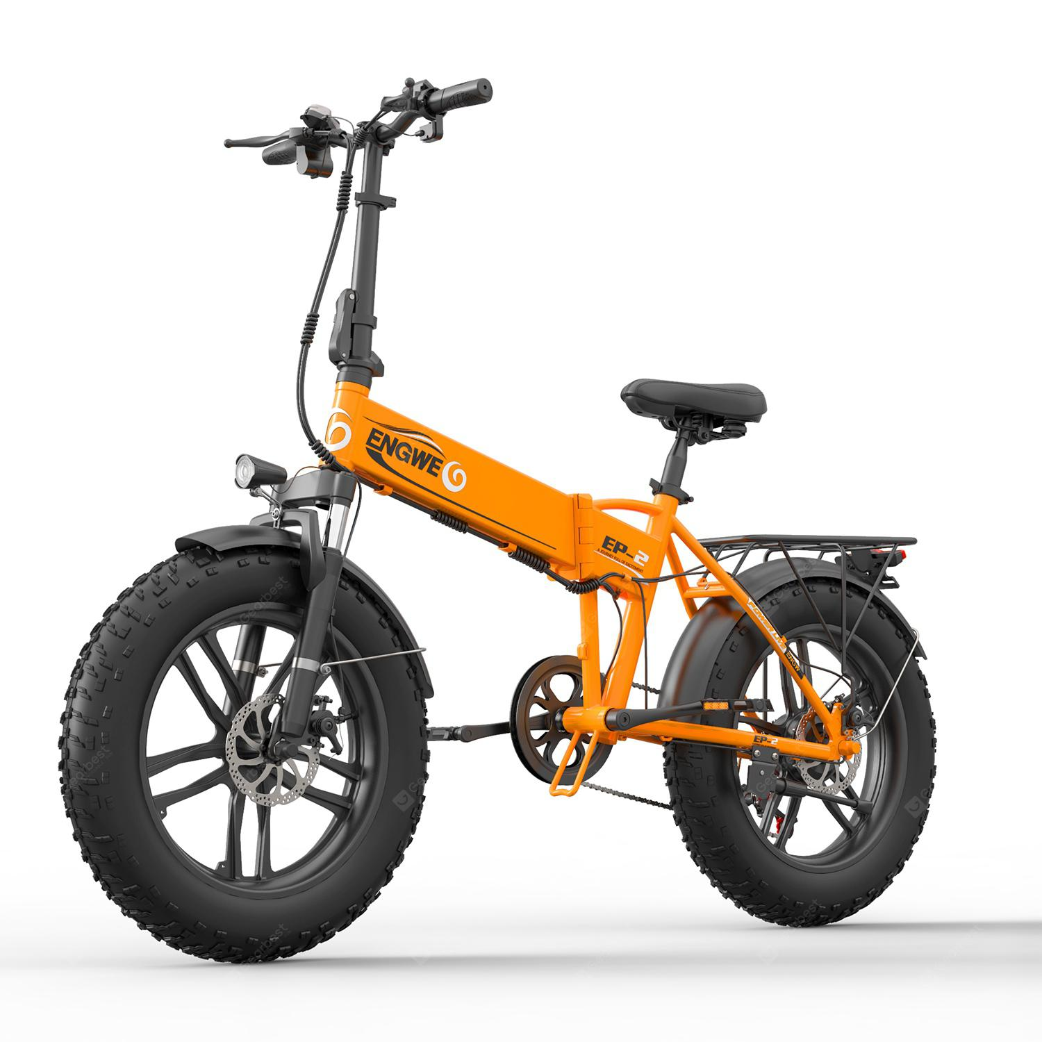 ENGWE EP-2 500W Folding Fat Tire Electric Bike with 48V 10Ah Lithium-ion Battery - Orange China 3%commissions