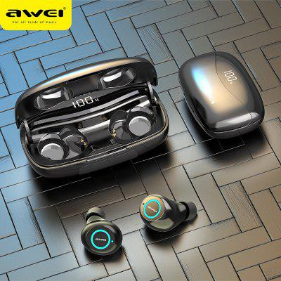 AWEI  T19  LED Display Super Bass Stereo Earbuds Noise Cancelling With Dual Mic